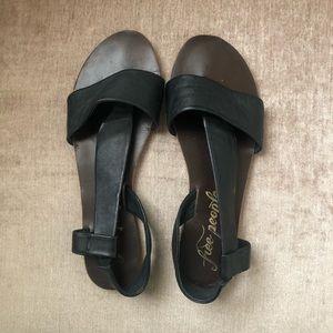 Free People Black Leather Sandal